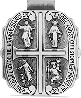 Catholic Visor Clip for Protection While Driving (Four Way Saint Cross)