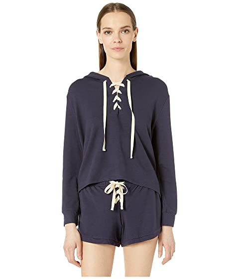 Eberjey Mason - The Lace-Up Crop Hoodie