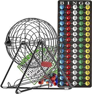 MR CHIPS Professional Bingo Set with Bingo Cage, Bingo Balls, Bingo Board, Bingo Cards, and Bingo Chips - 4 Color Choices