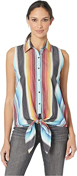 Sleeveless Striped Button Down B5B9105
