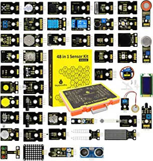 KEYESTUDIO 48 in 1 Sensor Kit for arduino Projects with LCD, 5v Relay, IR Receiver, Line Tracking, Traffic Light, 9G Servo Motor Module, PIR, Reed Switch, Flame, Ultrasonic Sensor, etc
