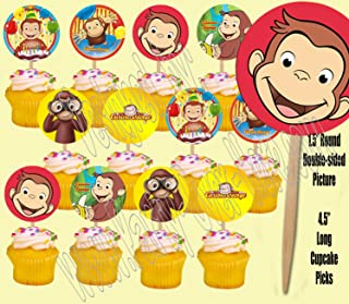 Curious George Monkey Double-Sided Cupcake Picks Cake Toppers -12 pcs