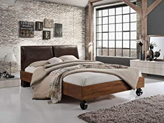Cadar Lotte en bois marron | Lit en bois rembourré avec cuir écologique marron Design élégant Salon moderne | Cadre de lit...