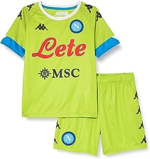ssc napoli, Kit Gara Portiere Away 2020/21 Unisex Bambini, Verde Lime-Azzurro, 6 Anni