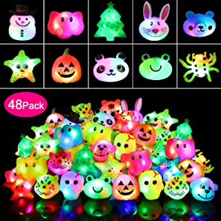 wellvo 48 Pack Light up Rings Party Favors for Kids Flashing Led Toys Glow in The Dark Party Supplies Goody Bag Stuffers
