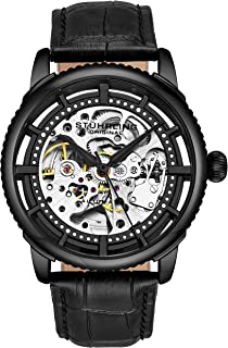 Mens Automatic Watch Skeleton Stainless Steel Self Winding Dress Watch with Premium Leather Band Legacy Collection