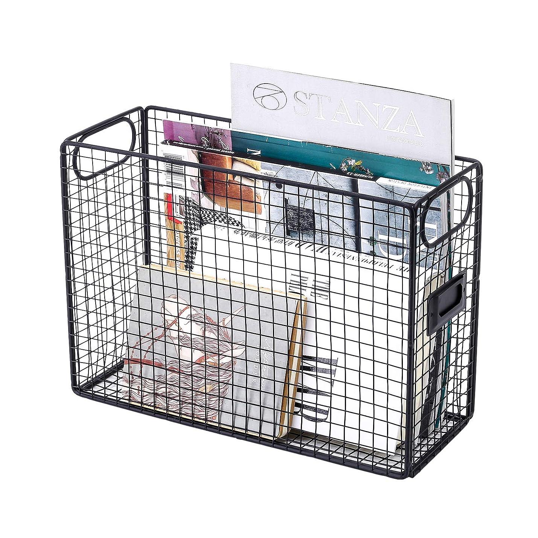 GoldOrcle Desk Organizer File Organizer Mesh Wire Metal Document Food Storage Baskets Bins File Holder with Label Holder, Black avjsayazjcihk542