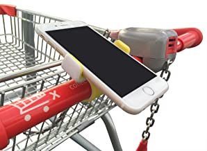 Shopping Cart Cell Phone Holder with Secure Clip - Suits All Phones - Yellow Color