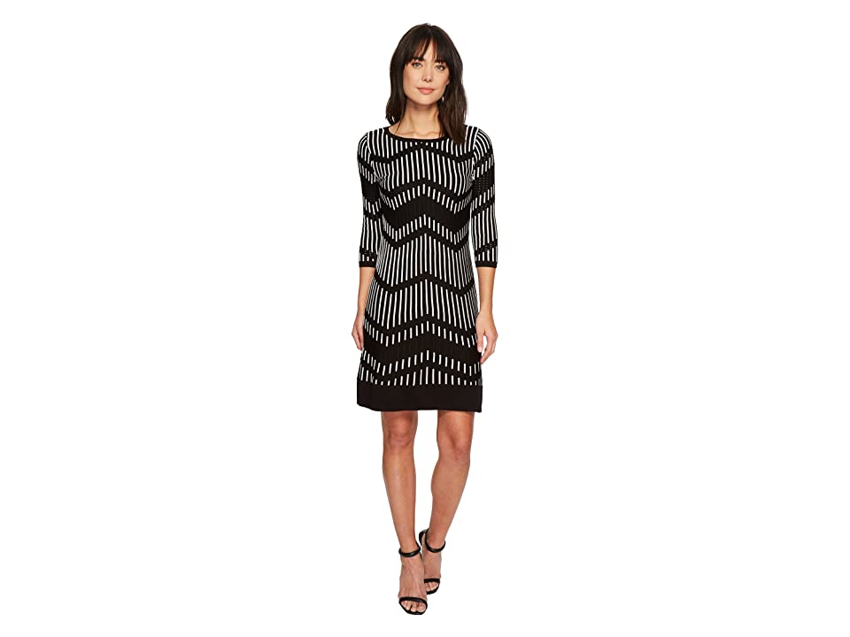 Taylor Chevron Shift Sweater Knit Dress (Black/Off-White) Women