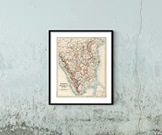 Map|11: Madras (South), Mysore, and Coorg 1894|Historic Antique Vintage Reprint|Size: 20x24|Ready to Frame