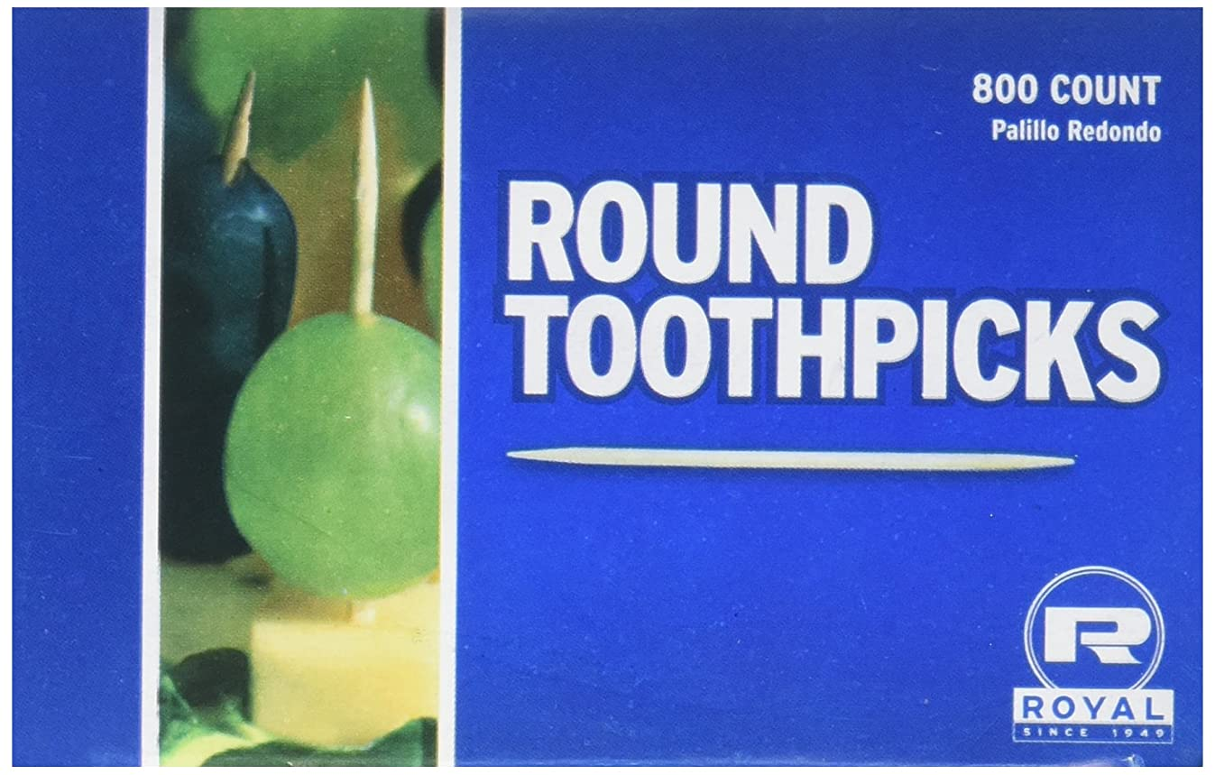 Royal R820 Plain Round Toothpicks, Pack of 800