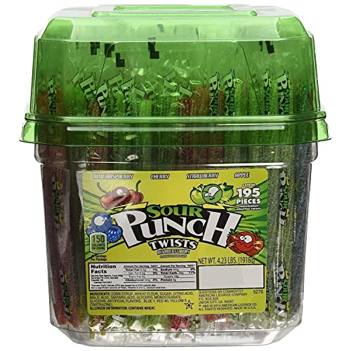 Sour Punch Twists Assorted Flavors approx 195Piece Candy Net Wt 4.23 Lbs,, 4.23 Lb ()