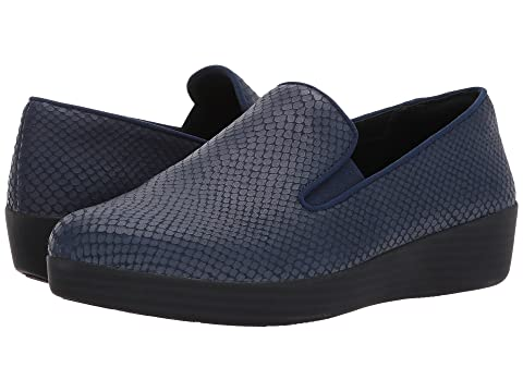 Women's Athletic Shoes/fitflop midnight navy superskate snake embossed cs8c14q4