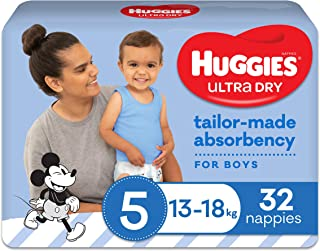 Huggies Ultra Dry Nappies Boy Size 5 (13-18kg) 32 Count