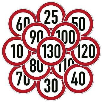 Verkehrszeichenaufkleber Zulässige Höchstgeschwindigkeit Kfz Aufkleber Sticker 10 Cm Ø 10 Km H Gewerbe Industrie Wissenschaft