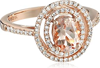 Natural Morganite & 1/3 ct Diamond Double Halo Ring in 10K Rose Gold