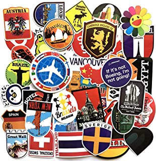 40PCS Flags Sticker Sticker of International Worldwide by Country Children Adult Teens Teacher Toddlers Water Bottles Laptop Car Travel Luggage Suitcase Skateboard Decal (Landmark map)