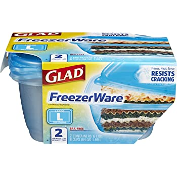 Glad Large Rectangle Food Storage Containers, 2 Count (Pack of 1), FreezerWare