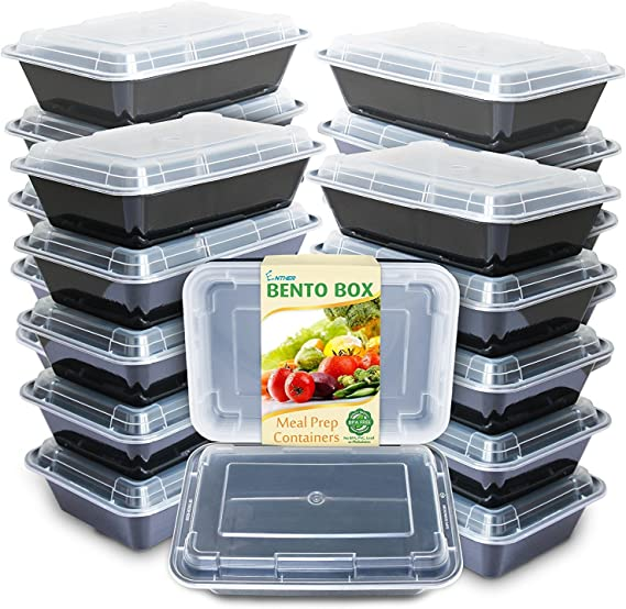 Enther Meal Prep Containers [20 Pack] Single 1 Compartment with Lids