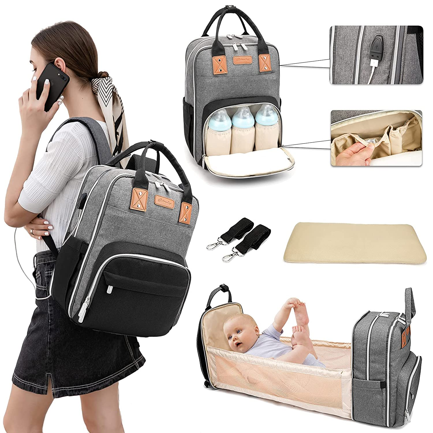 Dad Diaper Bag Backpack With Changing Station Built-in USB Port Portable Foldable Mommy Bag Waterproof Stylish Large Capacity Travel Bassinet It's Ok To Install On Suitcases And Strollers (Black Gray)