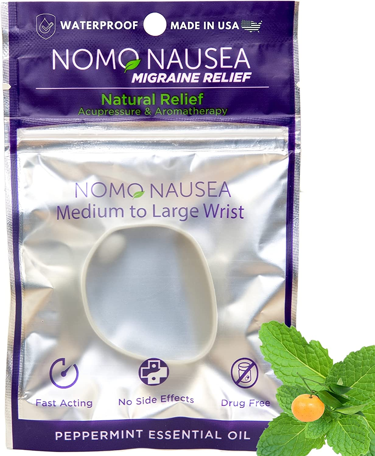 NoMo Migraine Band. 5 popular Headache Relief. Ad Size Shipping included Grey Large