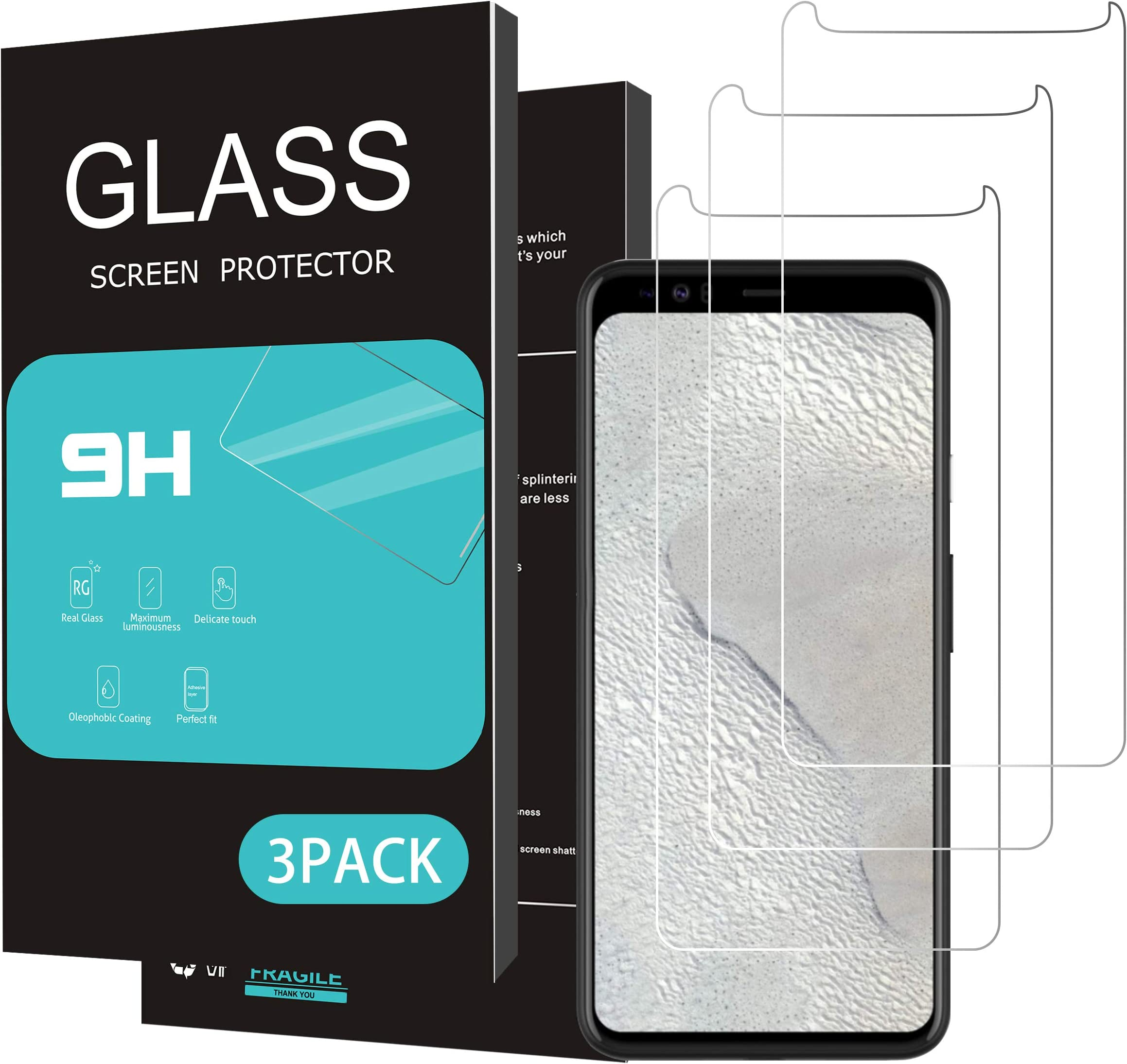 Homemo Screen Protector for Google Pixel 4XL 3Pack 2.5D Edge Tempered Glass for Google Pixel 4XL Anti Scratch Case Friendly