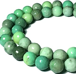 [ABCgems] Rare Australian Chrysoprase AKA Australian Jade (Beautiful Color- Exquisite Matrix) Tiny 4mm Faceted Round Beads for Beading & Jewelry Making