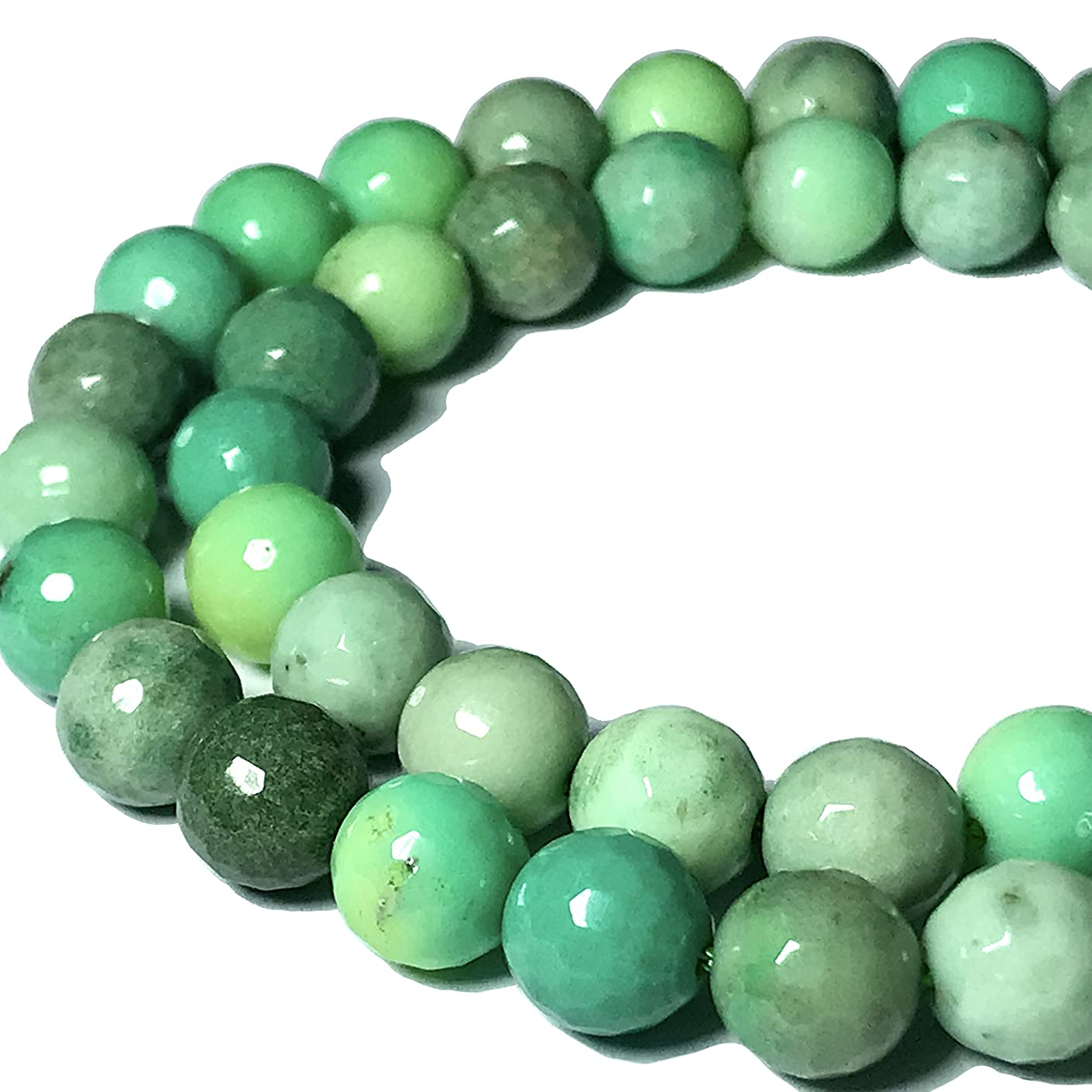 [ABCgems] Rare Australian Chrysoprase 12mm Faceted Round Beads for Beading & Jewelry Making