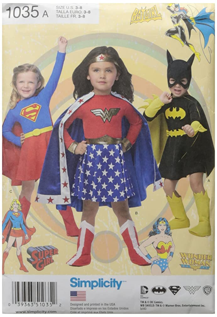 Simplicity Supergirl, Bat Girl, and Wonder Woman Costume Sewing Patterns for Girls, Sizes 3-8
