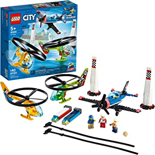 LEGO City Air Race 60260 Flying Helicopter & Airplane Toy, Features 2 Ripcord Helicopters, Stunt Plane Aircraft Toy, 2 Pyl...