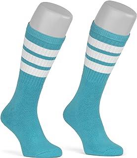 skatersocks, Medias de mujer a rayas, hasta la rodilla, para hombre, color agua, rayas blancas, unisex, OSFA