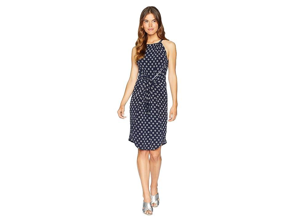 1.STATE Halter Neckline Tie Front Printed Knit Dress (Night Navy) Women