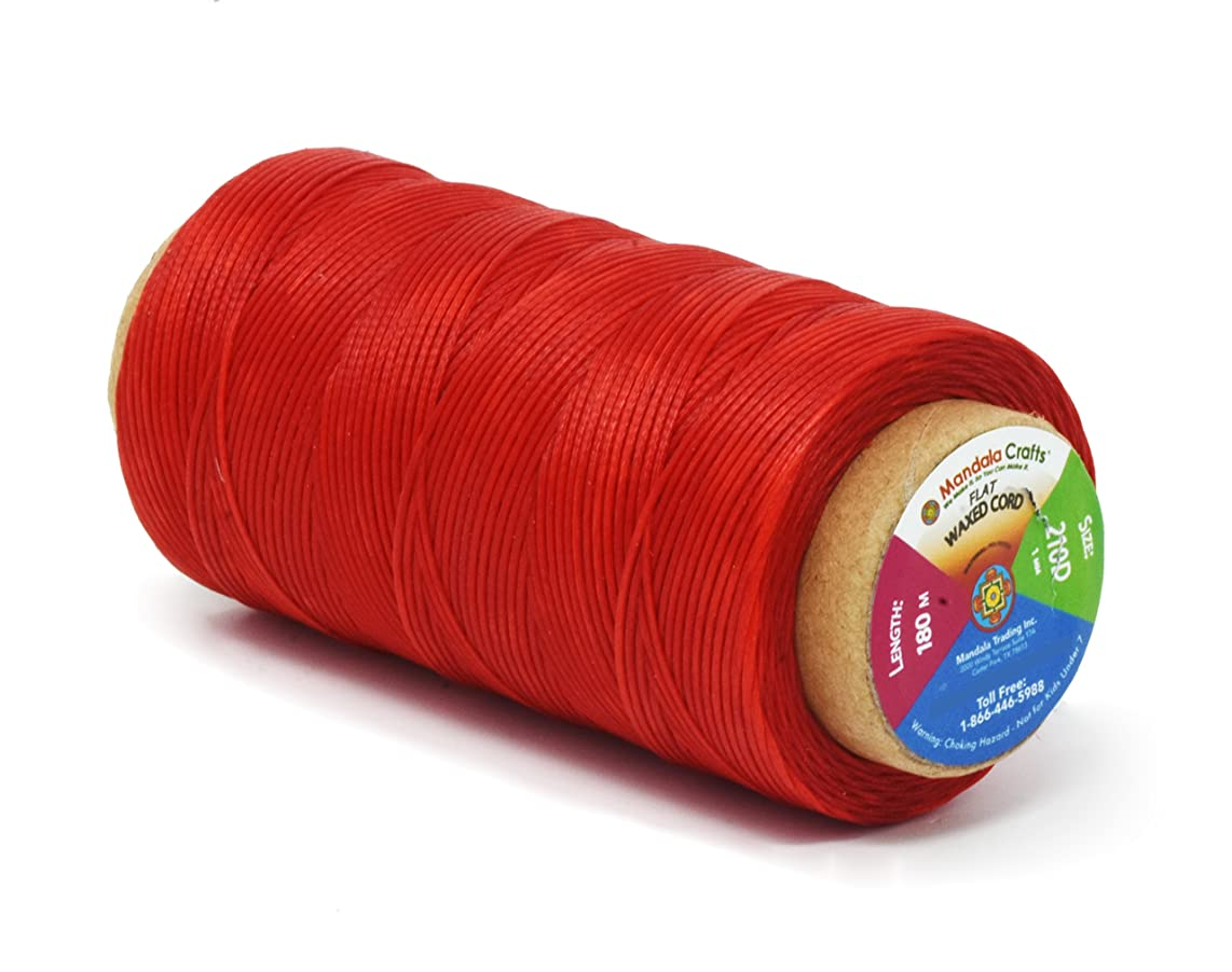Mandala Crafts 150D 210D 0.8mm 1mm Leather Sewing Stitching Flat Waxed Thread String Cord (210D 1mm 180M, Red)