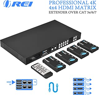 Professional 4K 4x4 HDMI Extender Matrix by OREI - HDBaseT UltraHD 4K @ 60Hz 4:2:0 Over Single CAT5e/6/7 Cable with HDR Switcher & IR Control, RS-232 - Up to 230 Ft - Loop Out - 4 Receivers Included
