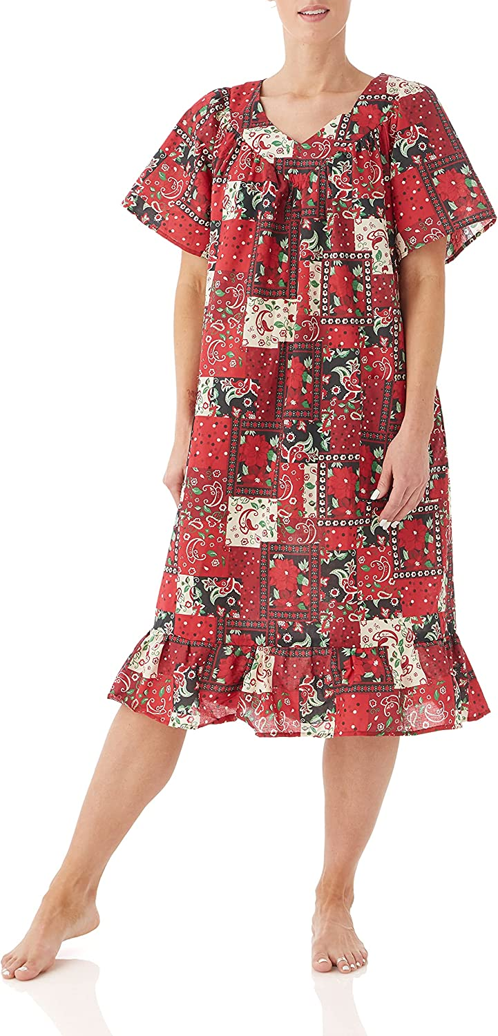AmeriMark Women's Casual Print Sun Dress - House Dress with Front Patch Pockets