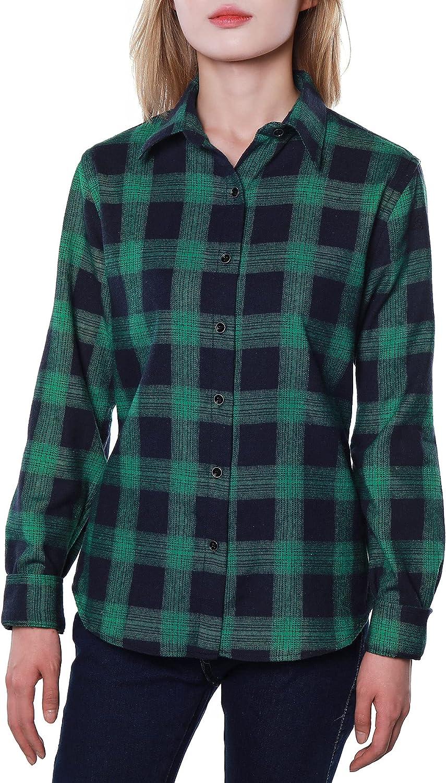 Women's Flannel Plaid Shirt Long Sleeve Tops Button Down Buffalo Blouse Cotton Jacket Classic Fit Tunic