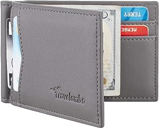 Travelambo Leather RFID Blocking Slim Minimalist Front Pocket Wallet Money Clip