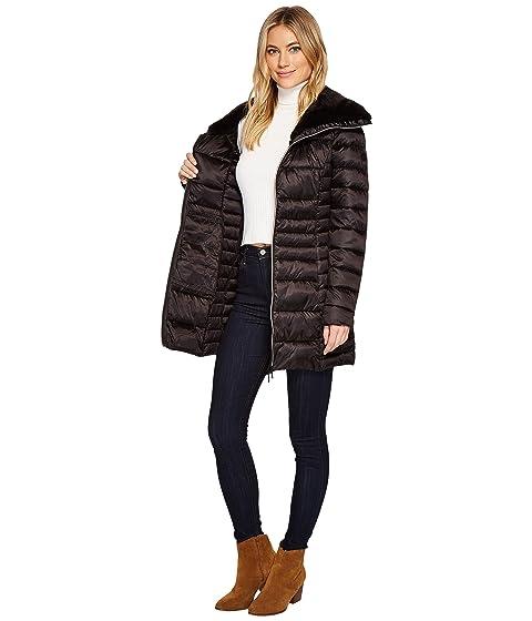 nylon de negra con pato piel largo de el sintética abrigo Guarde Ew7tv
