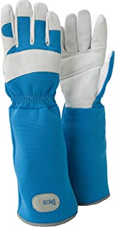 DRESHah Long Rose Pruning Garden Gloves Leather Hands Long Breathable Gauntlet Sleeves - Provides Forearm Protection from Thorny Bushes, Bugs, Poison Ivy, Cacti Vines. Great All Gardeners