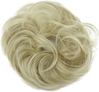 PRETTYSHOP Hairpiece Scrunchie Bun Up Do | Ponytail Extensions | Wavy Curly or Messy (Bleach Blonde 25T613)