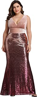 Ever-Pretty Women's Deep V-Neck Slim Sexy Sequin Formal Evening Dress Prom Ball Gown 7767PZ