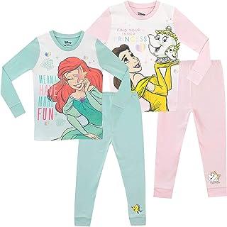 49bbf6c87 Disney Girls' Ariel and Belle Pajamas 2 Pack