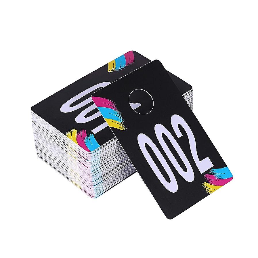 パワーピケカーテンSUKIRA ライブセール プラスチックナンバータグ ノーマル&リバースミラー イメージコートルームチェックフェイスブックライブセール 再利用可能なLularoe Supplies衣類用ハンガーカード 100連続番号(001-100)