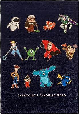 Gertmenian Disney Pixar Heroes Rug Kids Bedding Playmat Carpet, 5x7 Large, Dark Gray