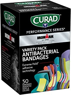 Curad - CURIM1850 Performance Series Ironman Bandages Antibacterial، Extreme Hold Adhesive Technology، Assorted Variety Pack شامل استاندارد ، XL ، انگشت