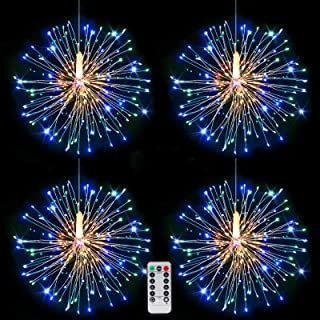 120LED Starburst String Lights LED Copper Wire Battery Operated Hanging Fairy Lights with Remote Timer Wedding Christmas D...