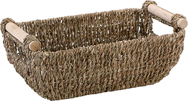 Hoffmaster BSK3000 Seagrass Basket With Handles 4 25 Height 6 25 Width 12 Length Dark Brown Renewed