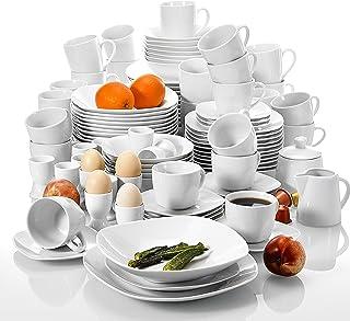 MALACASA Série Elisa, 100 Pcs Service de Table Porcelaine, Combinaison Mixte des Vaisselles de Différentes Tailles, Vaisse...