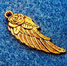 20 Tibetan Antique Gold Angel Wing w/Rose Flower Charms Pendants DIY Crafting by Wholesale Charms