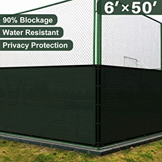 Coarbor 6' x 50' Privacy Fence Screen with Brass Grommets Heavy Duty 140GSM Pefect for Outdoor Back Yard and Deck Green